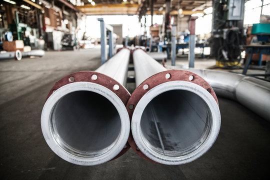 Aluminum pipes in metal industry