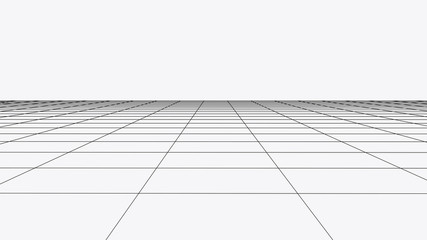 Vector perspective grid. Abstract wireframe landscape. Detailed lines on white background. 3d vector illustration. Wall mural