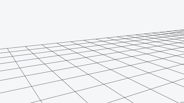 Vector perspective grid. Abstract wireframe landscape. Detailed lines on white background. 3d vector illustration.