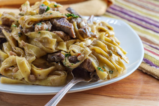 Beef Mushroom Sausage Stroganoff
