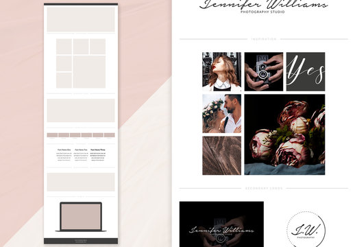 Brand Board Layout with Laptop Imagery