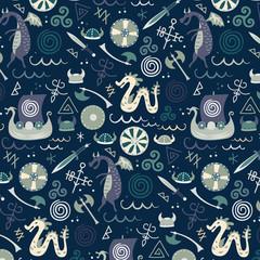 Viking pattern seamless design graphic