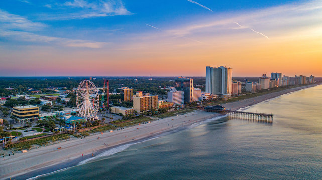 Pier in Myrtle Beach South Carolina SC Drone Aerial