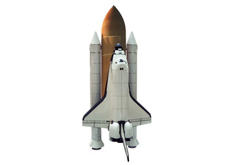 A shuttle spaceship taking off on white background. Isolated.