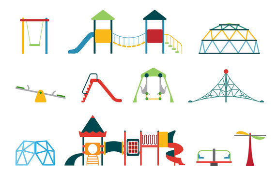 Kid playground equipment flat icons. Vector icon set with different types of elements on the playground.