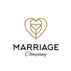 Heart gold wedding logo design line art illustration