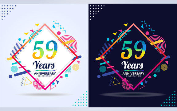 59 years anniversary with modern square design elements, colorful edition, celebration template design,