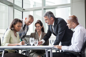Business people talking during office meeting