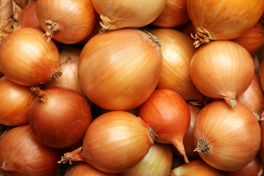 Fresh whole onions as background, top view