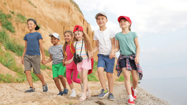 Cute little children outdoors on summer day. Camping trip