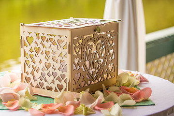 Wedding gift donation box on the table