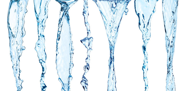 Collection of water flow on an isolated white background