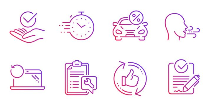 Spanner, Refresh like and Timer line icons set. Approved, Car leasing and Breathing exercise signs. Recovery laptop, Rfp symbols. Repair service, Thumbs up counter. Technology set. Vector