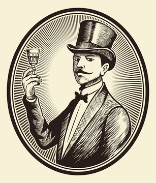 Portrait of old-fashioned, elegant gentleman wearing a cylinder hat with the wine glass in his hand, vintage vector image.