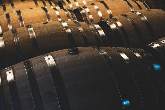 Oak wine barrels in winery