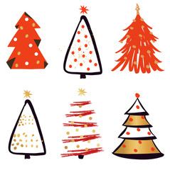 Set christmas fir-tree with abstract garland decoration toy  isolated on white background. Symbol, badge, icon for happy new year party. Vector illustration