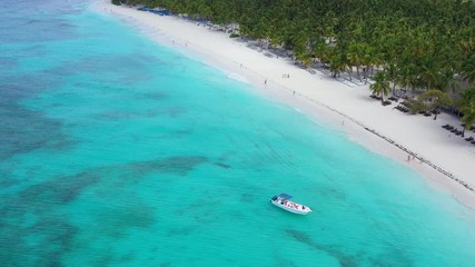 Fototapete - Aerial view from drone on tropical shore with coconut palm trees and boats floating in turquoise caribbean sea. Travel destinations. Summer vacations
