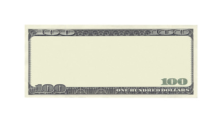Blank 100 dollar banknote isolated on white background