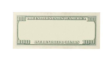 Back of blank 100 dollar banknote isolated on white background