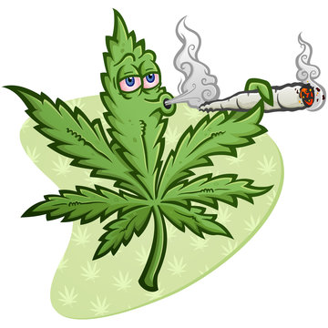 A cheerful marijuana vector cartoon character getting high and smoking a huge rolled up pot joint and blowing smoke