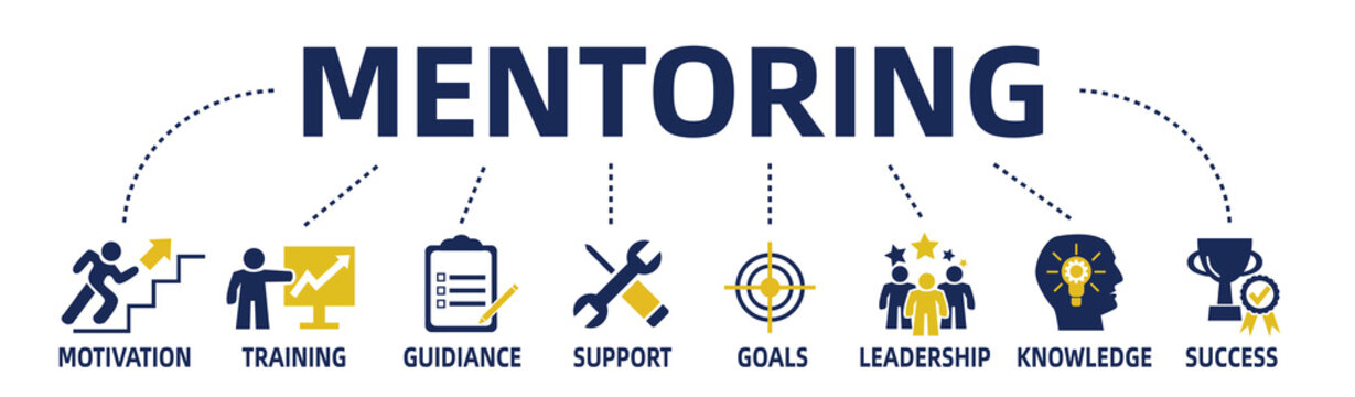 mentoring concept vector web banner with keywords and icons