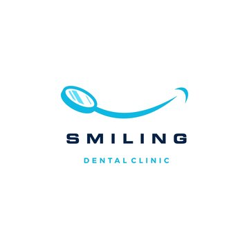 smile dental mirror logo vector icon illustration