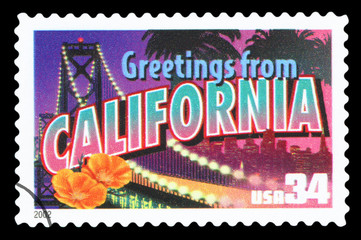 UNITED STATES OF AMERICA – CIRCA 2002: A postage stamp printed in USA showing an image of California state, circa 2002. ( Isolated on black background )