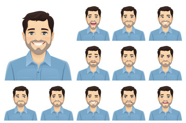 Handsome bearded man with different facial expressions set vector illustration isolated