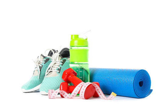 Healthy lifestyle accessories isolated on white background