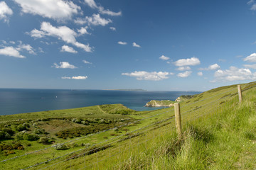 View from footpath near Mupe Bay near Lulworth Cove on the Dorset coast