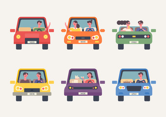 Many people enjoy the drive. Front view. flat design style minimal vector illustration.