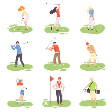 People Playing Golf Set, Male and Female Golfer Players Training with Golf Clubs on Course with Green Grass, Outdoor Sport or Hobby Vector Illustration