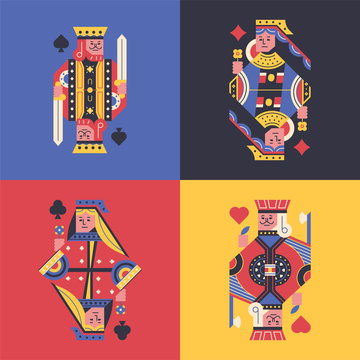 King and Queen of Flying Cards. flat design style minimal vector illustration.