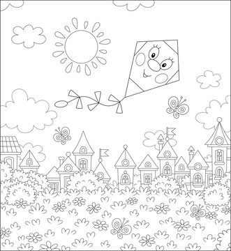 Funny kite flying with cheerful butterflies over toy houses of a small town on a sunny summer day, black and white vector illustration in a cartoon style for a coloring book