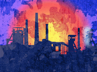Orange glow over the steelworks silhouette . Illustration of steelworks black silhouette on grunge background.