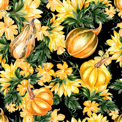 Bright watercolor seamless pattern with pumpkin vegetables and sunflowers.