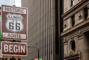 Foto auf AluDibond Route 66 Route 66 Illinois Begin road sign, the historic roadtrip in USA
