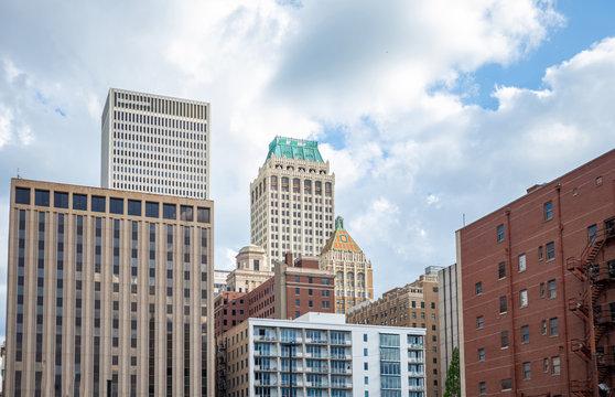 Tulsa Oklahoma. High buildings view against blue sky background