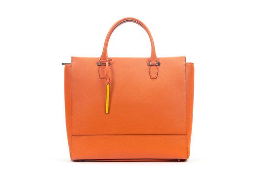 New leather female bag isolated on white background