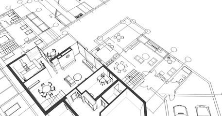 house architectural project sketch 3d illustration Fototapete