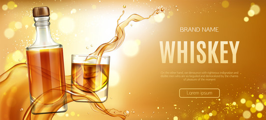 Obraz Whiskey bottle and glass with ice cubes and splash mockup banner. Closed glass blank flask with strong alcohol drink package mock up advertising promo ad banner, Realistic 3d vector illustration - fototapety do salonu