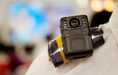 body worn camera to capture photos and video during law and order situations by police officers,kept on mannequin to demonstrate the operation
