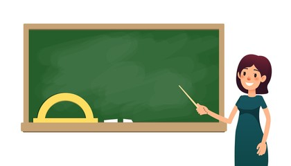 School teacher in classroom near blackboard. Cartoon flat women with pointer is teaching lesson. Female teacher on lesson showing on board. Vector illustration