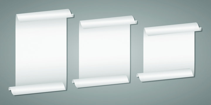 Unrolled white scroll mockup vector design illustration isolated on grey background