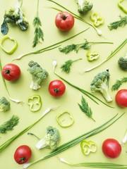 Fototapete - vegetables flat lay top view