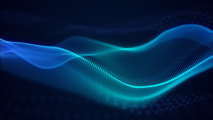 In de dag Fractal waves beautiful abstract wave technology background with blue light digital effect corporate concept