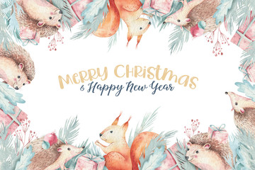 Set of Christmas Woodland forest cartoon hedgehog, cute squirrel, mouse, bunny hare animal character. Winter raccoon christmas tree floral elements, bouquets, berries, fllowers, snow and snowflakes,