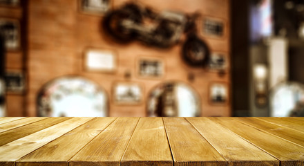 Table background with blurred barber salon shop view. Empty space for decoration and advertising...
