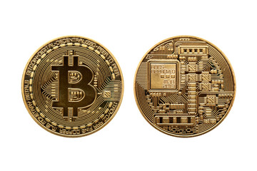 Gold Bitcoin cryptocurrency money currency coin cut out and isolated on a white background