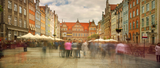 Stone streets and tourists Gdansk Wall mural